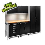 NewAge Garage Cabinets PERFORMANCE PLUS 2.0 Black Diamond 6-Piece Set, Slatwall and LED Lights