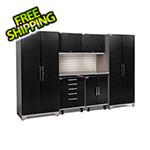 NewAge Garage Cabinets PERFORMANCE PLUS 2.0 Black Diamond 7-Piece Set, Slatwall and LED Lights