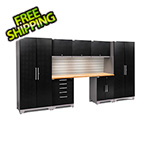 NewAge Garage Cabinets PERFORMANCE PLUS 2.0 Black Diamond 8-Piece Set, Slatwall and LED Lights