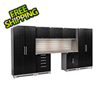 NewAge Garage Cabinets PERFORMANCE PLUS 2.0 Black Diamond 8-Piece Set, Slatwall LED Lights