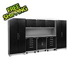 NewAge Garage Cabinets PERFORMANCE PLUS 2.0 Black Diamond Plate 9-Piece Set with Slatwall