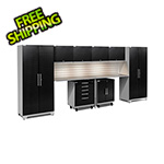 NewAge Garage Cabinets PERFORMANCE PLUS 2.0 Black Diamond 10-Piece Set, Slatwall and LED Lights