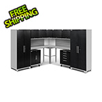 NewAge Garage Cabinets PERFORMANCE PLUS 2.0 Black Diamond 12-Piece Set, Slatwall and LED Lights