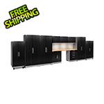 NewAge Garage Cabinets PERFORMANCE PLUS 2.0 Black Diamond 11-Piece Set, Slatwall and LED Lights