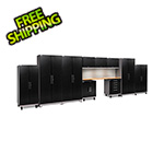 NewAge Garage Cabinets PERFORMANCE PLUS 2.0 Black Diamond Plate 11-Piece Set, Slatwall and LED Lights