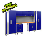 NewAge Garage Cabinets PERFORMANCE 2.0 Blue 8-Piece Cabinet Set with Slatwall
