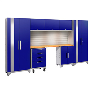 PERFORMANCE 2.0 Blue 7-Piece Cabinet Set with Slatwall and LED Lights