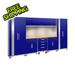 NewAge Garage Cabinets PERFORMANCE 2.0 Blue 9-Piece Cabinet Set with Slatwall and LED Lights
