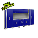 NewAge Garage Cabinets PERFORMANCE 2.0 Blue 9-Piece Cabinet Set with Slatwall