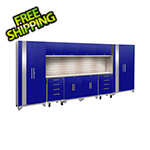 NewAge Garage Cabinets PERFORMANCE 2.0 Blue 12-Piece Cabinet Set with Slatwall and LED Lights