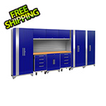 NewAge Garage Cabinets PERFORMANCE 2.0 Blue 10-Piece Cabinet Set with Slatwall