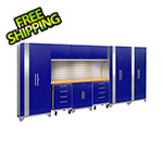 NewAge Garage Cabinets PERFORMANCE 2.0 Blue 10-Piece Cabinet Set with Slatwall and LED Lights