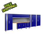 NewAge Garage Cabinets PERFORMANCE 2.0 Blue 12-Piece Cabinet Set with Slatwall