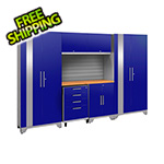 NewAge Garage Cabinets PERFORMANCE 2.0 Blue 7-Piece Cabinet Set and Slatwall