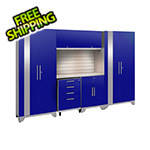 NewAge Garage Cabinets PERFORMANCE 2.0 Blue 7-Piece Cabinet Set with Slatwall and LED Lights