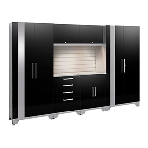 PERFORMANCE 2.0 Black 7-Piece Cabinet Set with Slatwall and LED Lights