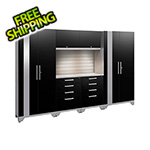 NewAge Garage Cabinets PERFORMANCE 2.0 Black 7-Piece Cabinet Set with Slatwall and LED Lights