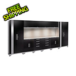 NewAge Garage Cabinets PERFORMANCE 2.0 Black 12-Piece Cabinet Set with Slatwall and LED Lights