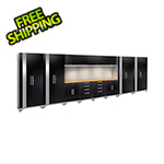 NewAge Garage Cabinets PERFORMANCE 2.0 Black 14-Piece Cabinet Set with Slatwall and LED Lights