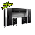 NewAge Garage Cabinets PERFORMANCE 2.0 Black 8-Piece Cabinet Set with Slatwall and LED Lights