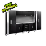 NewAge Garage Cabinets PERFORMANCE 2.0 Black 9-Piece Cabinet Set with Slatwall