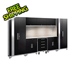 NewAge Garage Cabinets PERFORMANCE 2.0 Black 9-Piece Cabinet Set with Slatwall and LED Lights