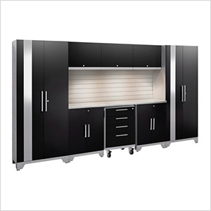 PERFORMANCE 2.0 Black 9-Piece Cabinet Set with Slatwall and LED Lights