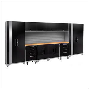 PERFORMANCE 2.0 Black 12-Piece Cabinet Set with Slatwall