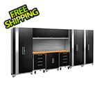 NewAge Garage Cabinets PERFORMANCE 2.0 Black 10-Piece Cabinet Set with Slatwall