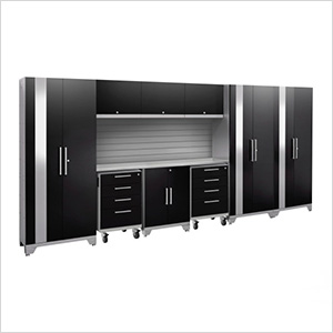 PERFORMANCE 2.0 Black 10-Piece Cabinet Set with Slatwall