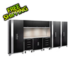 NewAge Garage Cabinets PERFORMANCE 2.0 Black 10-Piece Cabinet Set with Slatwall and LED Lights
