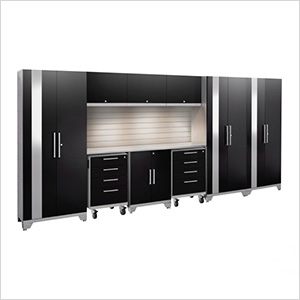 PERFORMANCE 2.0 Black 10-Piece Cabinet Set with Slatwall and LED Lights