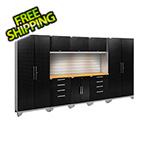 NewAge Garage Cabinets PERFORMANCE 2.0 Black Diamond  9-Piece Set with Slatwall and LED Lights