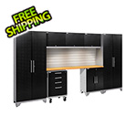 NewAge Garage Cabinets PERFORMANCE 2.0 Black Diamond 8-Piece Set with Slatwall and LED Lights