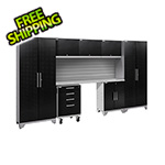 NewAge Garage Cabinets PERFORMANCE 2.0 Black Diamond Plate 8-Piece Cabinet Set with Slatwall