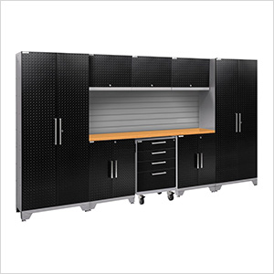 PERFORMANCE 2.0 Black Diamond Plate 9-Piece Cabinet Set with Slatwall