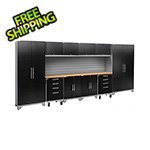 NewAge Garage Cabinets PERFORMANCE 2.0 Black Diamond Plate 12-Piece Cabinet Set with Slatwall