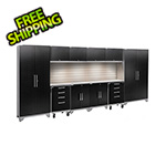 NewAge Garage Cabinets PERFORMANCE 2.0 Black Diamond 12-Piece Set with Slatwall and LED Lights