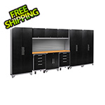 NewAge Garage Cabinets PERFORMANCE 2.0 Black Diamond Plate 10-Piece Cabinet Set with Slatwall