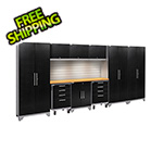 NewAge Garage Cabinets PERFORMANCE 2.0 Black Diamond 10-Piece Set with Slatwall and LED Lights