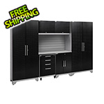 NewAge Garage Cabinets PERFORMANCE 2.0 Black Diamond Plate 7-Piece Cabinet Set with Slatwall