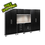 NewAge Garage Cabinets PERFORMANCE 2.0 Black Diamond 7-Piece Set with Slatwall and LED Lights