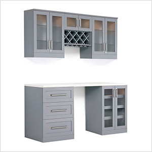 6-Piece Shaker Style Home Bar Cabinet System (Grey)