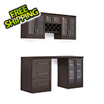 NewAge Home Bar 6-Piece Shaker Style Home Bar Cabinet System (Espresso)