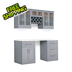 NewAge Home Bar 6-Piece Shaker Style Home Bar Cabinet System (Grey)