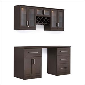 6-Piece Shaker Style Home Bar Cabinet System (Espresso)