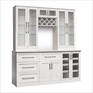 Newage 60144 7 Piece Shaker Style Home Bar Cabinet System White