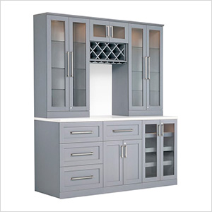 7-Piece Shaker Style Home Bar Cabinet System (Grey)