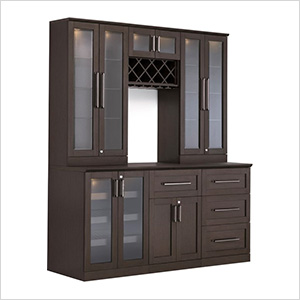 7-Piece Shaker Style Home Bar Cabinet System (Espresso)