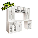 NewAge Home Bar 8-Piece Shaker Style Home Bar Cabinet System (White)